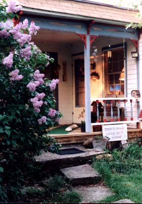 Porch with lilacs